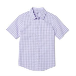Boys Gingham Style Short Sleeve Button Down Shirt
